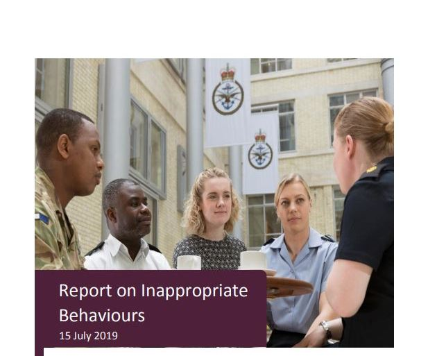 Report on inappropriate behaviours front page.