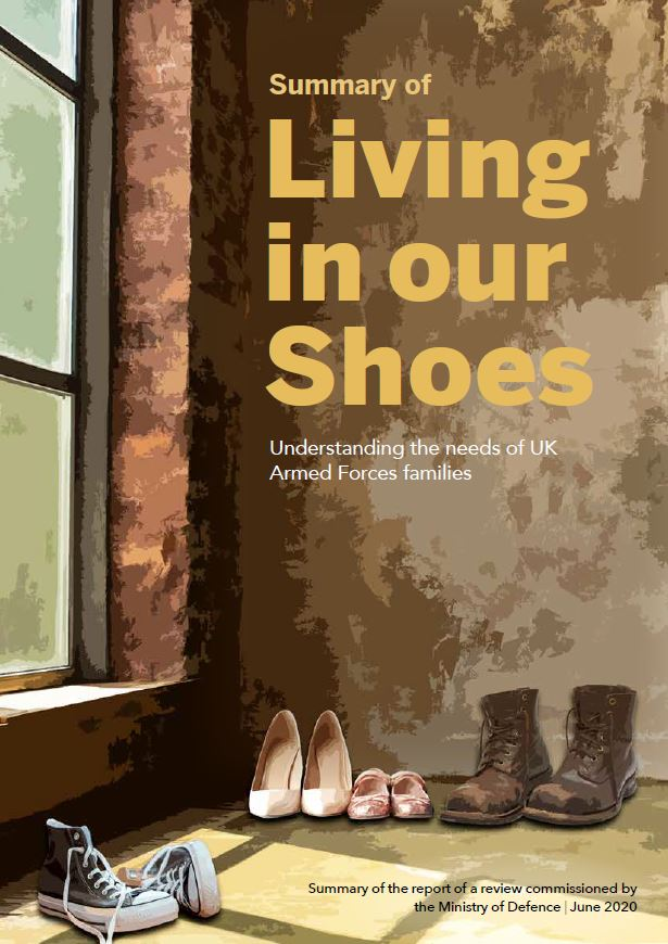Living in Our Shoes: Front cover showing an empty hallway with shoes on the floor.