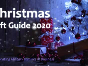 Poster of 2020 Christmas gift guide - supporting military businesses. Christmas tree with presents underneath.