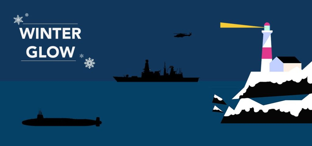 Winter Glow poster - illustration of a lighthouse, Type 45, Wildcat and submarine.