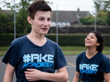 Young people wearing their Rookie Academy t-shirts.