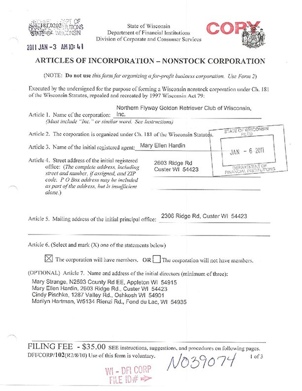 Stamped Image of Articles of Incorporation Page 1 of 3