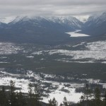 View of frozen Bowman Lake and Polebridge from Cyclone Lookout