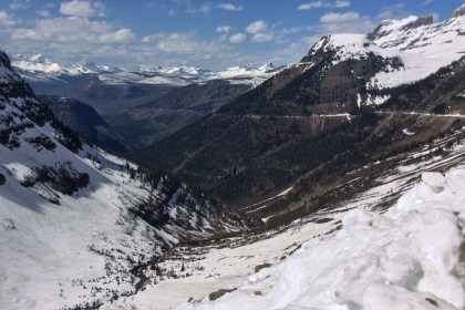 Looking north on the sun road, Vulture, Rainbow and Carter can be seen in the far left background