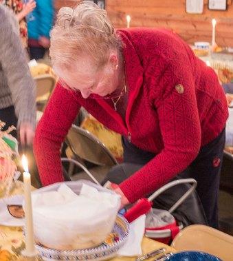 Pat Walsh unloading her basket