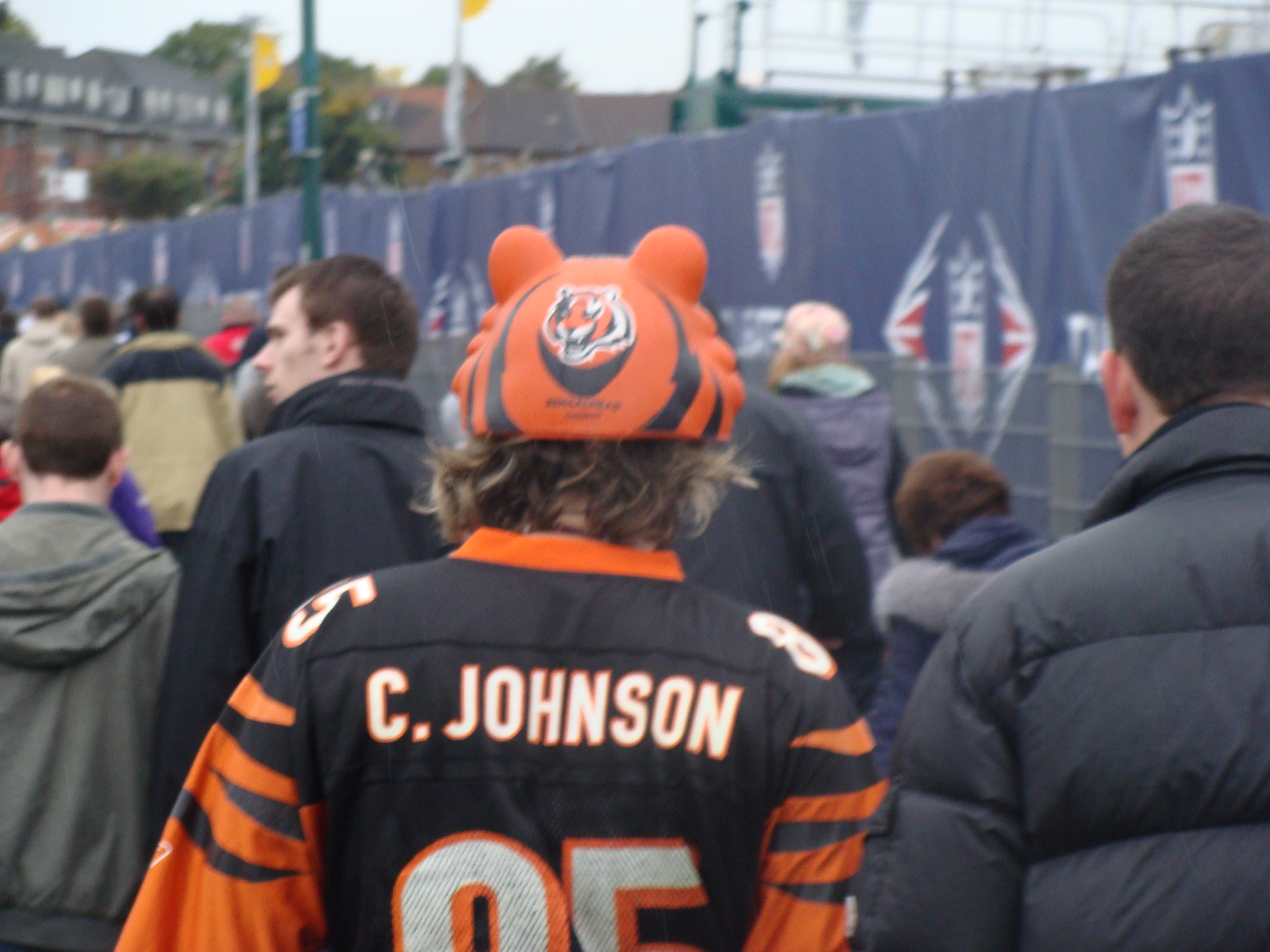 Yes there are Bengals fans in England - even ones with daft orange ears. My wife had me chase this person up the road to get a picture ! She is a Bengals fan