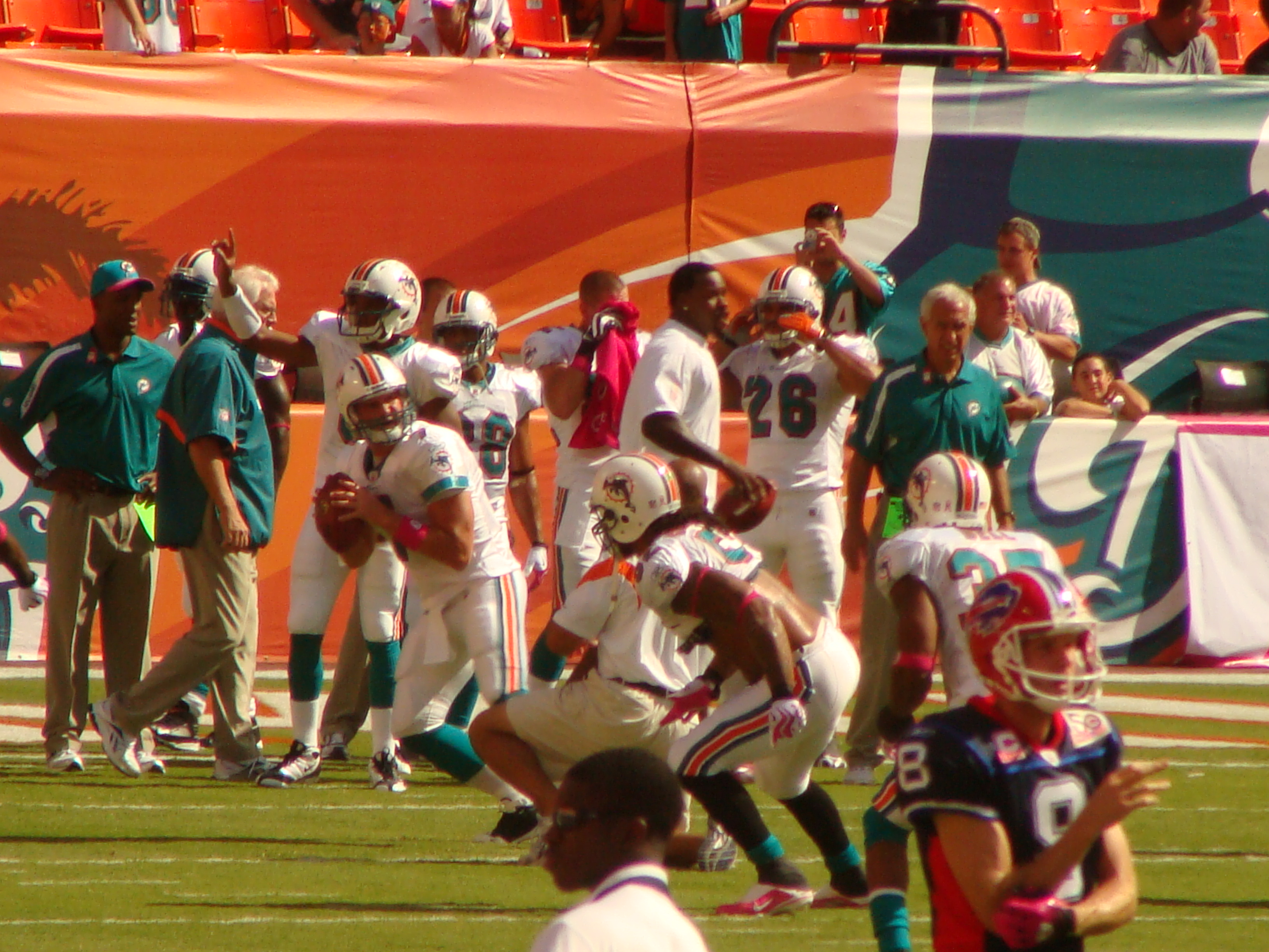 Chad Henne warns up for his first ever Dolphins start