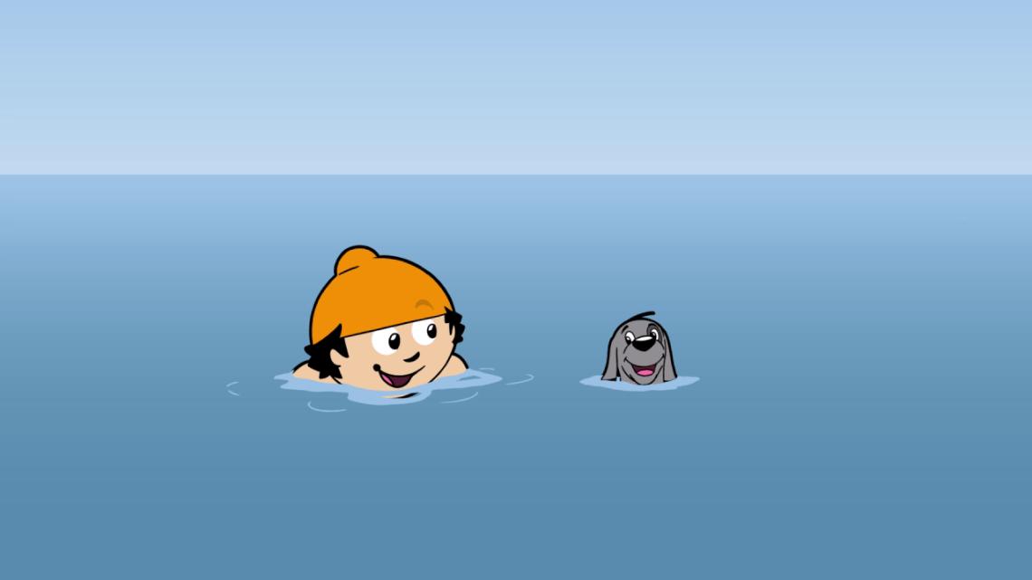 Hund und Berti tauchen