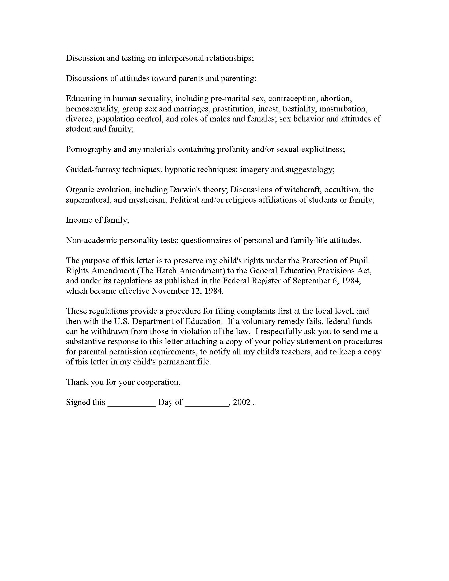 Sample Declaration Letter For Child Custody