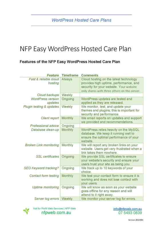 Fact sheet - NFP Easy WordPress Hosted Care Plan Features