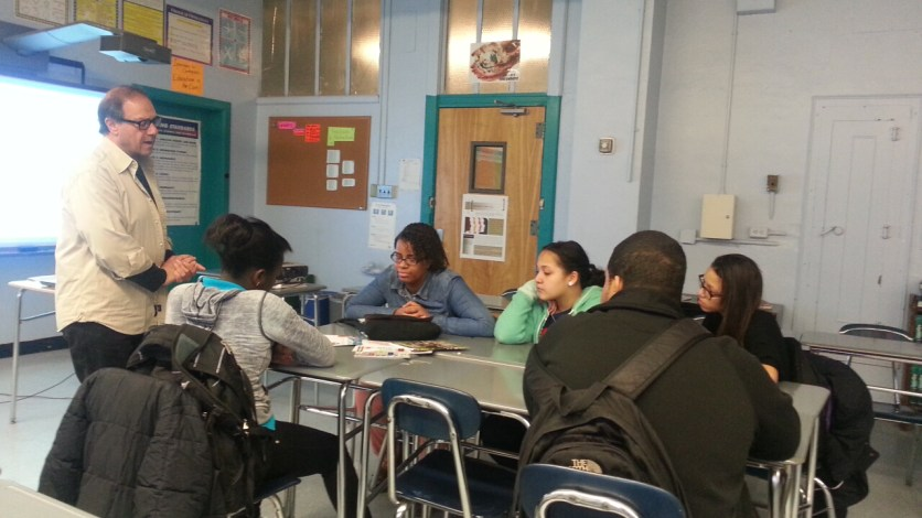 Stu Leventhal, President of Lexicon Communications, speaks to students at Bronx Aerospace HS