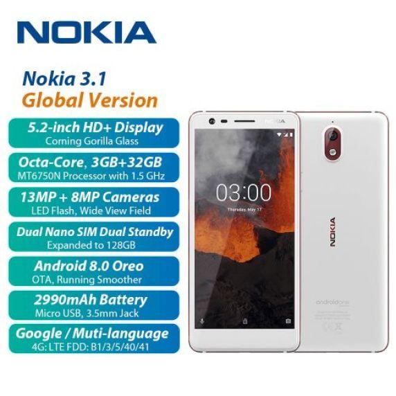 3.1 5.2-Inch HD+ (3GB RAM, 32GB ROM) Android 8 Oreo, (13MP + 8MP) Dual SIM 4G LTE Smartphone - White