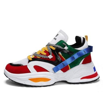 Men's Colourful Sneakers / Sports Shoes - Red/Multicolor