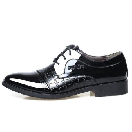 Men's Sleek Leather Lace-up Formal Shoes - Black