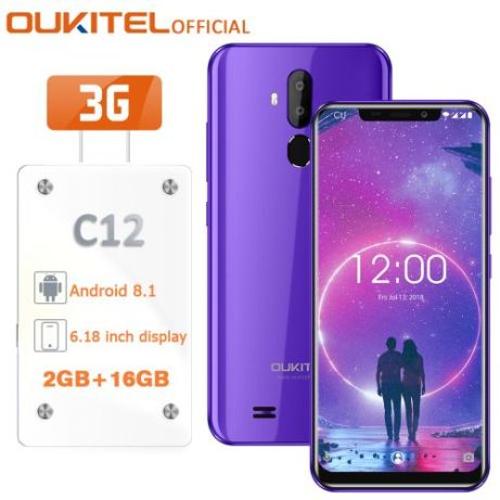 C12 3G 6.18-Inch(2GB RAM 16GB ROM),Android 8.1,(8MP + 2MP) + 5MP Smartphone With Case EU - Purple