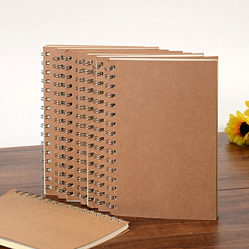 Generic 14 * 21cm Translucent Matte/Kraft Cover High Quality Journal Sprial Diary Notebook 50 Pages Style:Horizontal Line Model:Kraft Paper