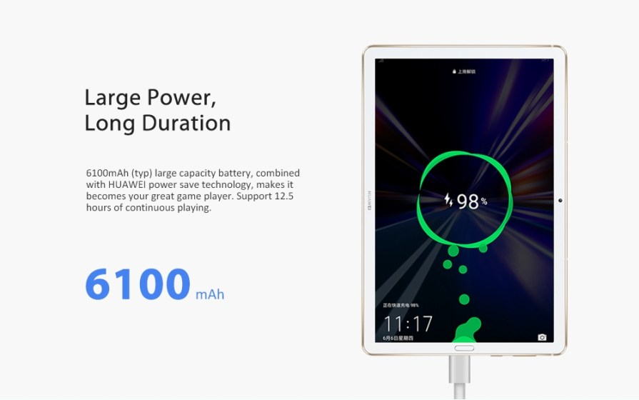 HUAWEI M6 4G Phablet Tablet PC 10.8 inch / Android 9.0 OS / Hisilicon Kirin 980 1.8GHz Octa Core CPU / 13.0MP + 8.0MP Camera WiFi Version