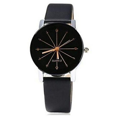 New Exotic Rhinestone Leather Wrist Watch For Men- Black