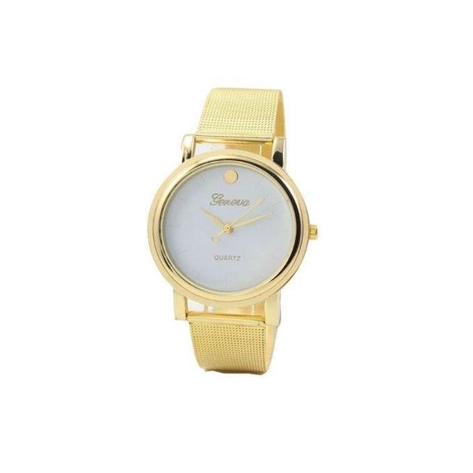 Geneva Exotic Men's Women's Studded Female Unisex Wrist Watch-Gold