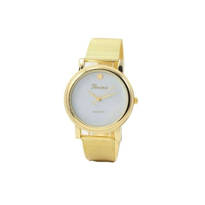Geneva Exotic Men's Women's Studded Female Unisex Wrist Watch-Gold