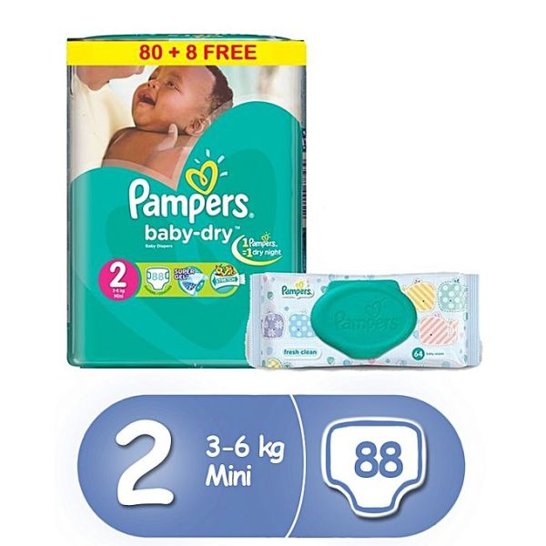 Pampers Baby Dry Diapers Size 2 Jumbo Pack 88 Count