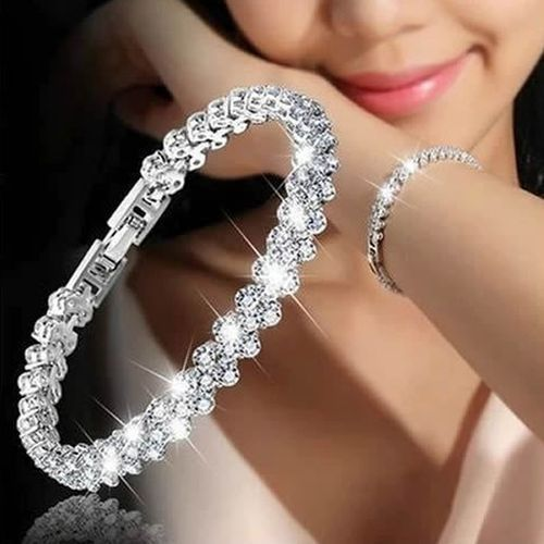 Female Crystal Bracelet With Artificial Diamond - Silver