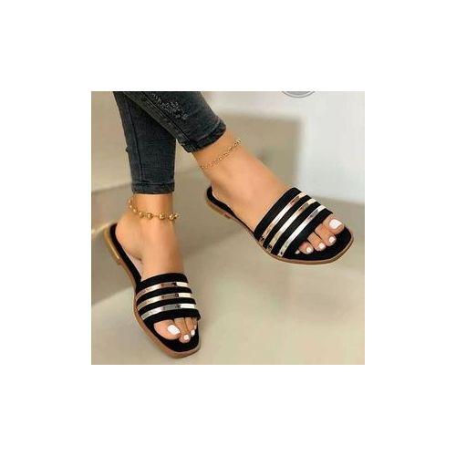 Female Simple Flat Slippers _ Black/Gold