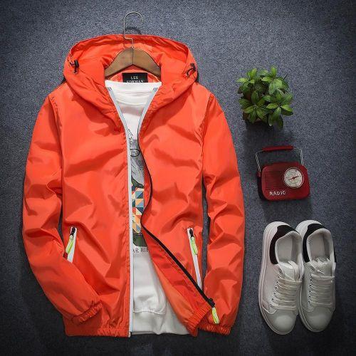 Orange New Autumn Men's Men's Jacket Korean Version Of The Tide Men's Color Hooded Jacket Young Students Reflective Plug Size