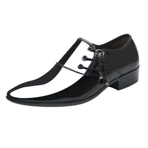 Men's Business Dress Shoes Pointed Shiny Shoes-black