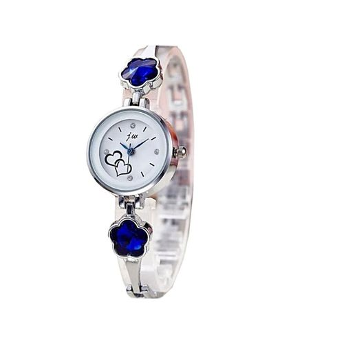 Wristwatch With Royal Blue Stud - Silver