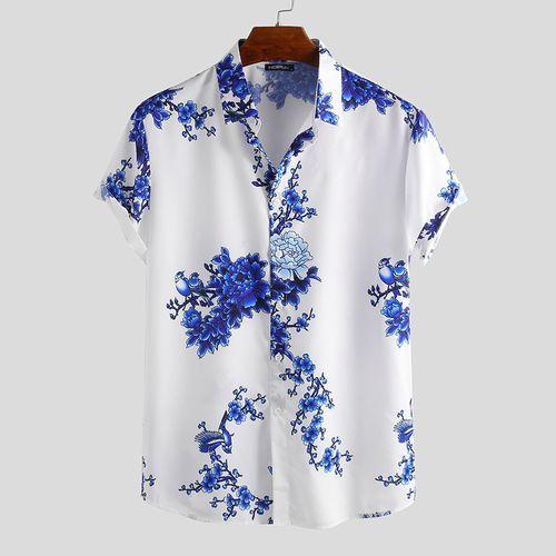 Summer Men's Loose Short Sleeve Hawaii Beach Shirt - Blue