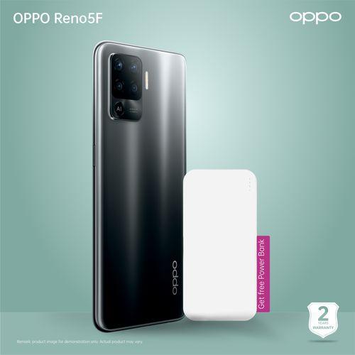 "Reno 5 F Fluid Black, 6.4"", 8gb Ram 128gb Rom, 64+8+2+2MP Rear, 44MP Selfie Dual Sim 4025 Mah Battery + Power Bank"