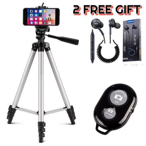 Phone Tripod Stand Kit With Holder Control Lightweight Portable And Free Gift
