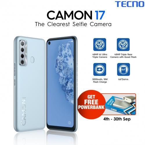 Camon 17 (CG6)-128GB, 4GB RAM-6.6-Inch-90Hz HD+ Android 11, 48MP Rear+8MP Selfie Camera, 5000mAh (4G LTE) - Silver