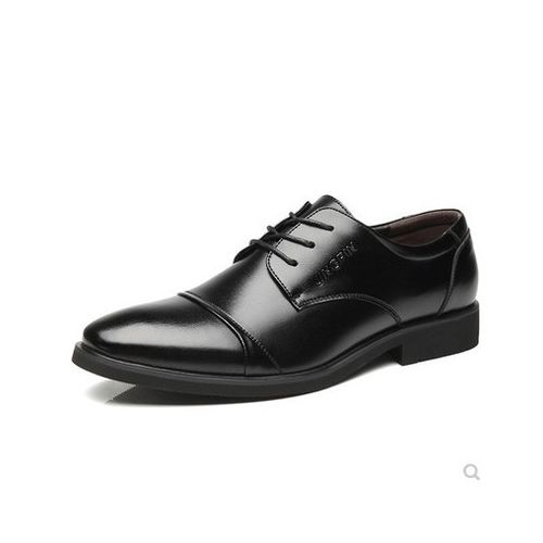 Mens Lace-up Formal Shoes Soft Business Leather Shoes Black