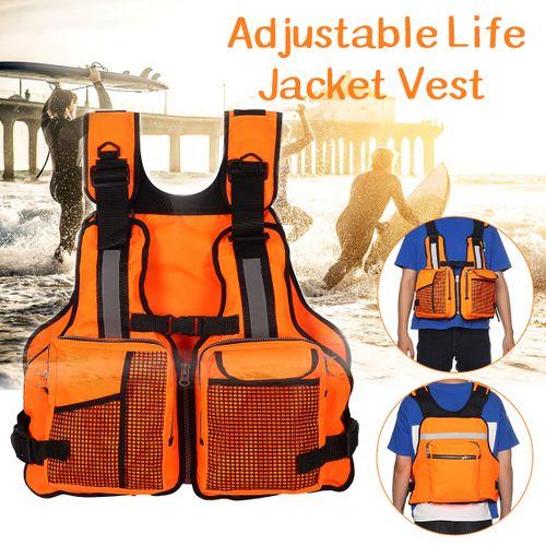 Adult Adjustable Life Jacket Kayak Reflective Sailing Orange