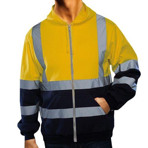 4XL Reflective Stripe Jacket Men High Visibility Safety Coat