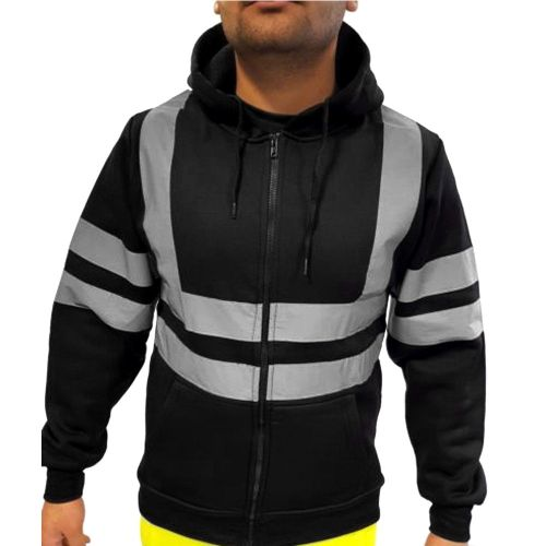 Mens Reflective Stripe Tops Sanitation Worker And Fireman Work Uniform Thickened Men's Hoodies Winter Outdoor Cold-proof Jacket(#black) CUI