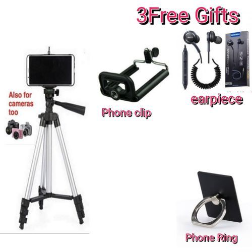 Phone And Camera Tripod Stand Kit With Holder Control Lightweight Portable And Free Gift