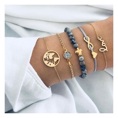 Bracelet Letters Love Turtle Beaded Bracelet Five Piece Set