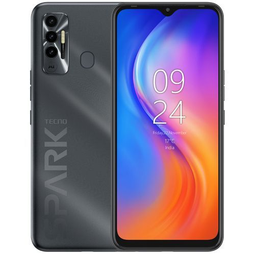 "Spark 7p (KF7j) 6.8"" HD+, 64GB ROM + 4GB RAM, 16MP Triple Camera, 5000mAh, Android11, Helio G70, 4G, Fingerprint - Black"