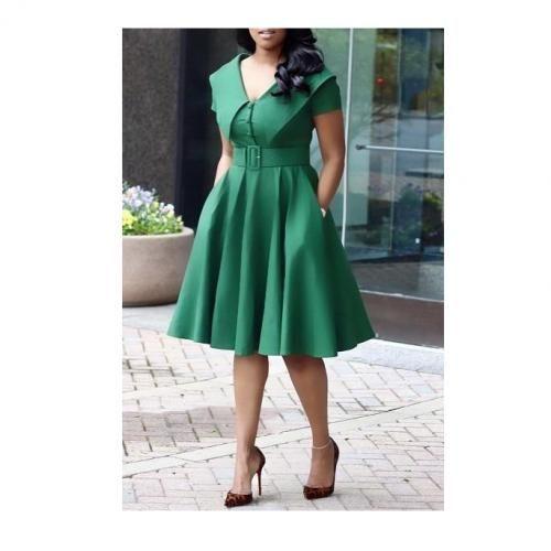 Cape Detail Belted Swing Dress - Green
