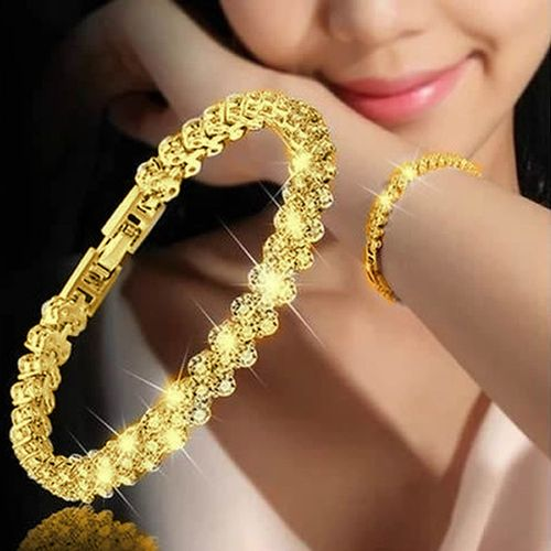 Female Crystal Bracelet With Artificial Diamond - Gold Color