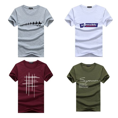 Printing Mens T-shirts Combo Of 4(gray/white/green/wine)