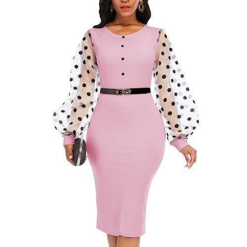 Female Office Lady Casual Dress Mesh Polka Dot Sleeve Pink