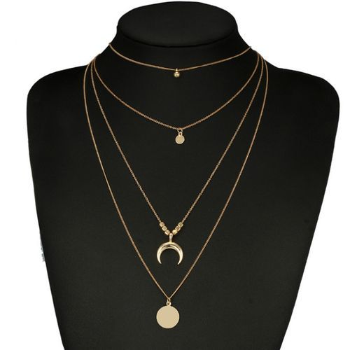 Women Vintage Multi-layer Jewelry Moon Necklace..