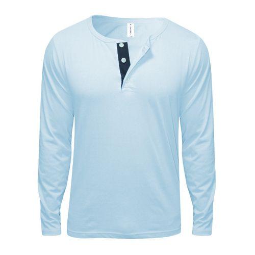 Button Designed Long Sleeve T-Shirt- Light/Sky Blue