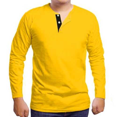 Button Designed Long Sleeve T-Shirt- Yellow