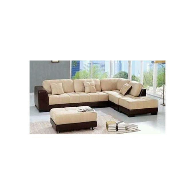 brown leather and cream fabric 5 seater l shape sofa free ottoman delivery to lagos only