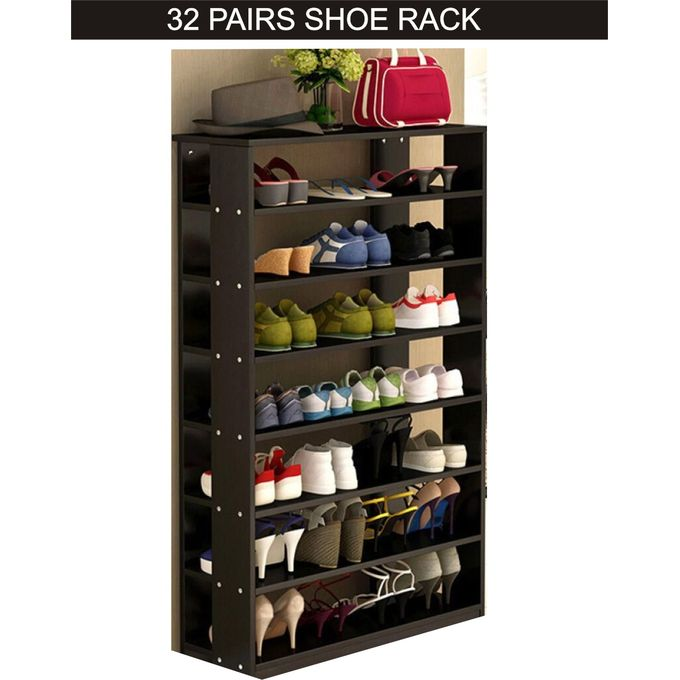 32 pairs wooden shoe rack black